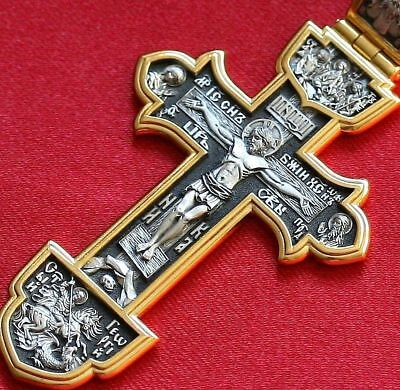 Big Russian Greek Orthodox Icon Cross,Silver 925+.999 Gold. Save And Protect