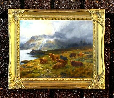 Fine Oleograph on Canvas of Highland Cattle resting  aft. Louis Bosworth Hurt