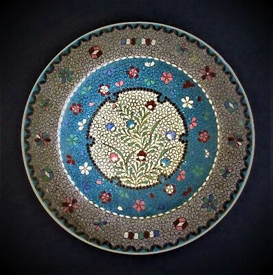 Large Antique Japanese 19th Century Meiji Period Signed Totai Cloisonne Plate