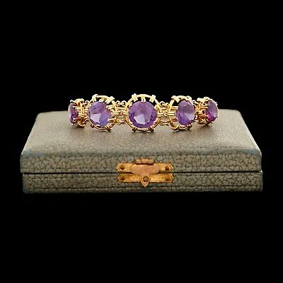 Antique Vintage Deco 18k Gold Color Change Corundum Alexandrite Riviere Bracelet