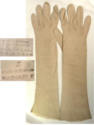 Vtg Lederer French Kidskin Leather Elbow Length Fawn Tan Evening Gloves Washable