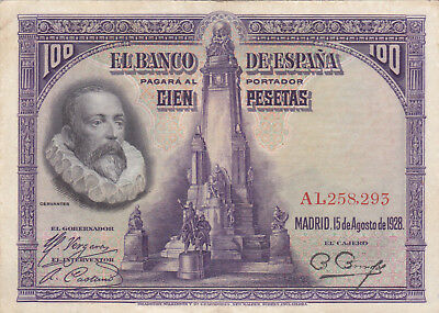 100 Pesetas Very Fine Banknote From Spain 1928!pick-76