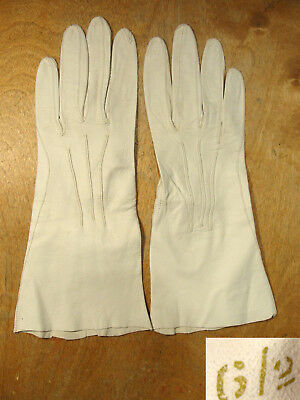 Vtg Soft White Kidskin Leather Evening Gloves Size 6 1/2