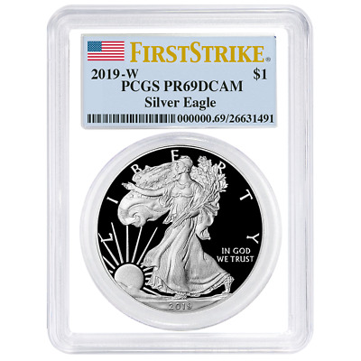 2019-W Proof $1 American Silver Eagle PCGS PR69DCAM First Strike Flag Label Whit