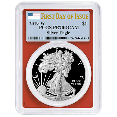 2019-W Proof $1 American Silver Eagle PCGS PR70DCAM FDOI Flag Label Red Frame
