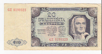 20 Zlotych Vf Banknote From Poland 1948!!pick-137