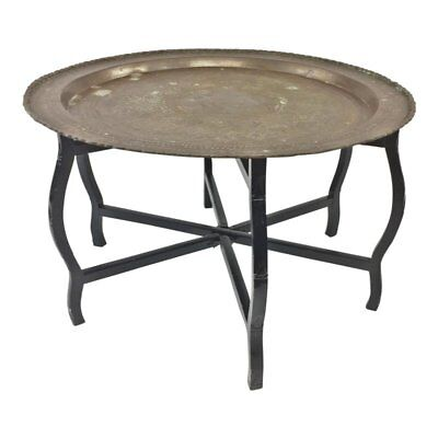 Mid Century Modern BRASS TRAY TABLE coffee charger top folding wood metal black