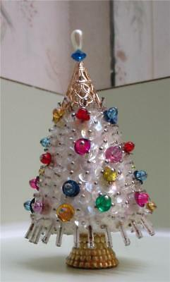 "Vintage Sequined & Faux Jewels & Pearl 3-1/2"" Miniature Christmas Tree"