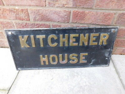 "Original Metal Sign "" Kitchener House "" Building Name Plaque. Vintage Old Piece"