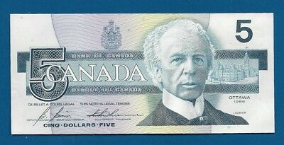 Canada 5 Dollars 1986 P-95c Sir Wilfred Laurier / Kingfisher on Back Banknote