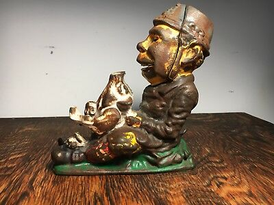 Vintage Cast Iron Mechanical Paddy and Pig Bank