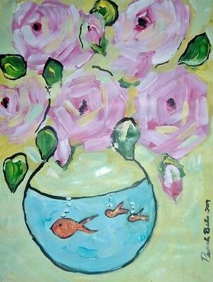 Painting art By Artist PB impressionist abstract realism outsider roses pinkd