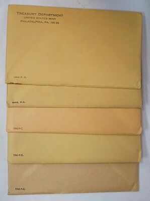 Lot (5) Sealed Unopened US Mint Silver Proof Sets 1961 1962 1963 1964 1965