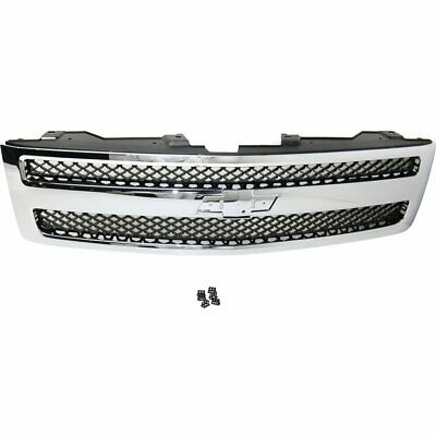 Grille Assembly For 2007-2013 Chevrolet Silverado 1500 Chrome Shell With Black