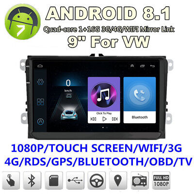 """9"""" 1080P 12V Quad Core 2Din Android Car Stereo Radio GPS Player For VW Golf Polo"""