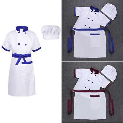 Chef Costume Kid Child Cook Cosplay Party Fancy Dress Up Jacket+Apron+Hat Outfit
