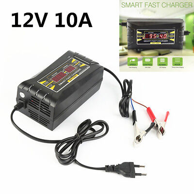 12V 10A AMP 20~150ah Smart LCD Display Car Motorcycle Battery Charger US Version