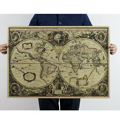 Vintage World Map Globe Matte Brown Paper Old Poster Wall Décor 71x50cm WE9Z
