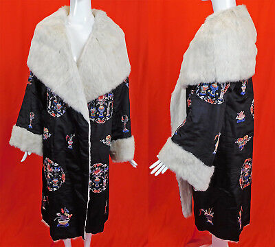Antique Chinese Silk Embroidered White Rabbit Fur Robe Art Deco Cocoon Coat Vtg