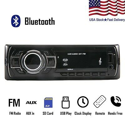 Car Stereo Receiver Audio Radio Bluetooth FM AUX IN USB MP3 Player 1 DIN In-Dash
