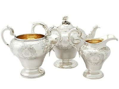 Antique Victorian Sterling Silver Three Piece Tea Service by Charles Gordon