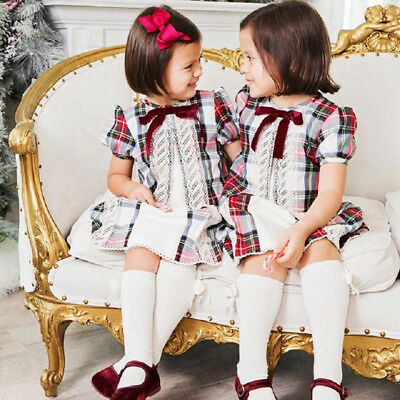 UK Hot Toddler Kids Baby Girl Retro Plaid Lace Spanish Party Shirt Dress Clothes