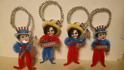 4 Patriotic Children Ornaments Favors Tags Freedom Flags