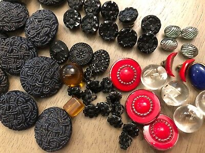 Lot 50 Vintage Antique Black Glass Buttons Variety Many Black Round