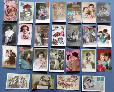 25 Asst'd Lot French Postcards Antique / Vintage / Retro - Early, Mid 1900's (A)