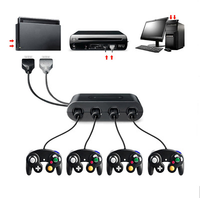 4 Port Gamecube Controller Adapter Super Smash Bros For Nintendo Wii U Switch PC