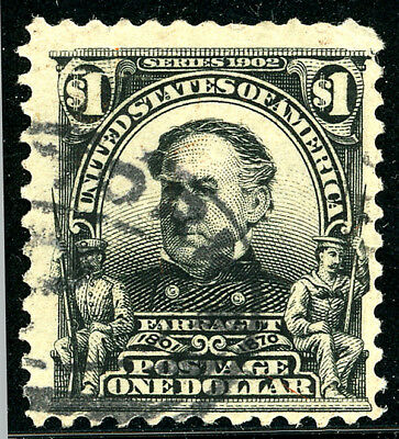US Scott #311 David Farragut $1 Black  Perf 12 (1902) Used****FREE SHIP****