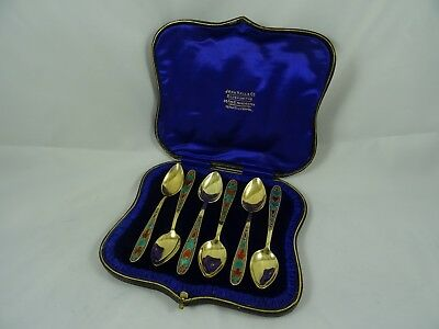BOXED SET X 6 RUSSIAN silver gilt and enamel TEA SPOONS, c1960, 89gm