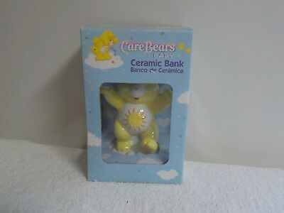"2002  Care Bears Funshine Ceramic Coin Piggy Bank 7"" Tall New In Box"