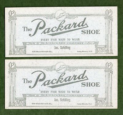 "2 THE PACKARD SHOE Ink Blotters - 3½""x7¾"", c1910, Long Beach CA, Exc Cond"