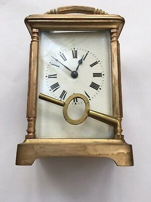 Antique French Brass Case Carriage Clock for Spares, Possibly Repair,