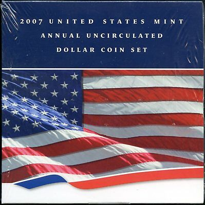 2007 United States Mint Annual Uncirculated Dollar Coin Set w/ Burnished Eagle