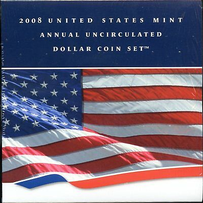 2008 United States Mint Annual Uncirculated Dollar Coin Set w/ Burnished Eagle