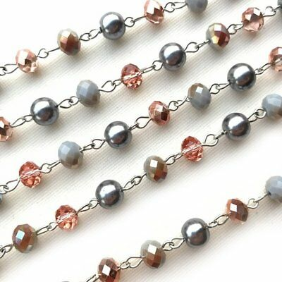 Gray Pearl Crystal Rondelle Beaded Rosary Antique Silver Eyepin Chain 8mm 2ft
