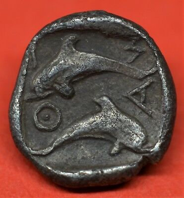 Extremely Rare Silver Tritemorion Of Thasos, 411-350 Bc. Dolphins / Satyr. E.f+