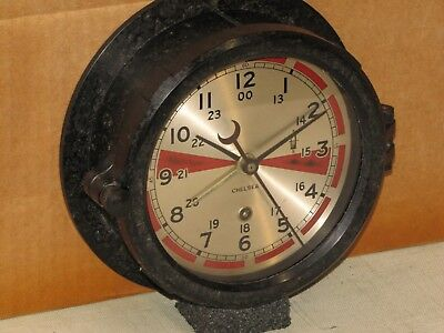 "Chelsea Antique Ships Radio Room Clock~6"" Dial~1944~Ww2~Restored"