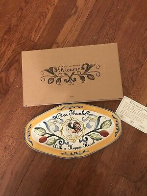 """Fitz & Floyd RICAMO Give Thanks Sentiment Tray Rooster Modern Farmhouse """"NEW"""""""