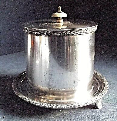GOOD Large ~ SILVER Plated ~ BISCUIT BOX ~ c1900 by Walker & Hall