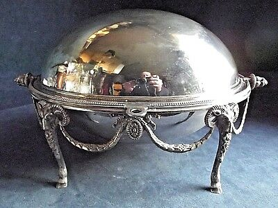 """SMART Large 13"""" ~ SILVER Plated ~ GOATS Head ~ Rollover SERVING Dish ~ c1900"""