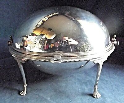 """GOOD Large 12"""" ~ Mappin & Webb ~ SILVER Plated ~ Rollover SERVING Dish ~ c1900"""
