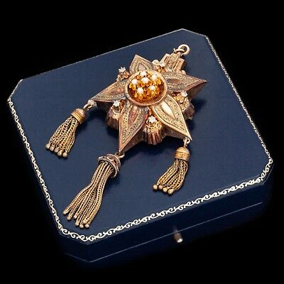 Antique Vintage Nouveau 18k Gold Rococo Tassle Diamond HUGE Pin Brooch Pendant
