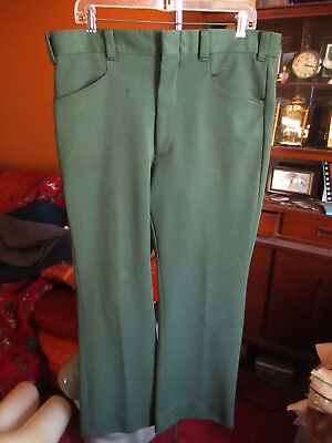 36x30 FIT True Vtg 70s Mens LEVIS AVOCADO GREEN POLYESTER BOOTCUT PANTS JEANS