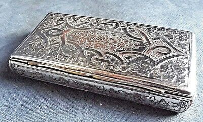SMART Ornate ~ SILVER Plated ~ ENGRAVED Tobacco CASE ~ c1900