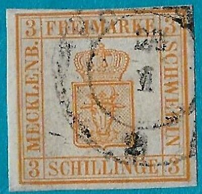 + 1856 Mecklenburg Schwerin German States Arms Crest #2 A2 3s Imperf.Rostock