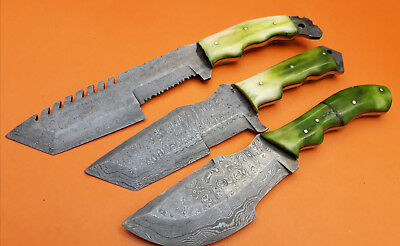 Custom Handmade Damascus Steel Tactical Tracker  LOT OF 3