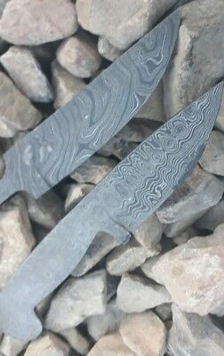 Lot of 2 Custom Made Damascus Steel Blank Blade for Knife